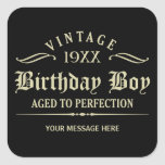 Personalise Funny Birthday Black Square Sticker