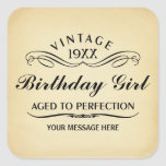 Personalise Funny Birthday Square Stickers