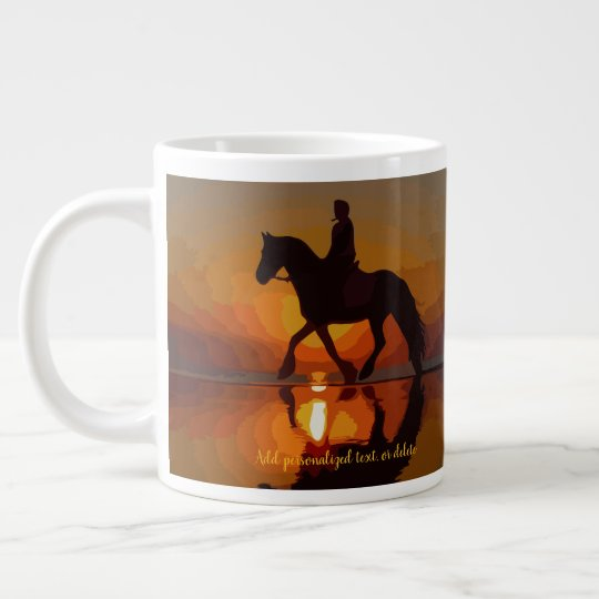 Personalise Gift for Horse lover. Riding in sunset Large Coffee Mug
