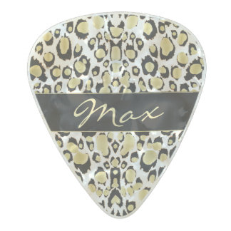 Personalise Gold Glitter Leopard Print Guitar Pick Pearl Celluloid Guitar Pick
