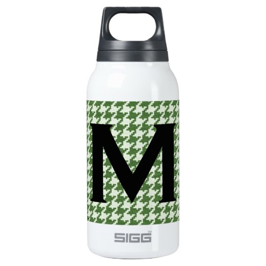 Personalise: Green and White Houndstooth Pattern Insulated Water Bottle