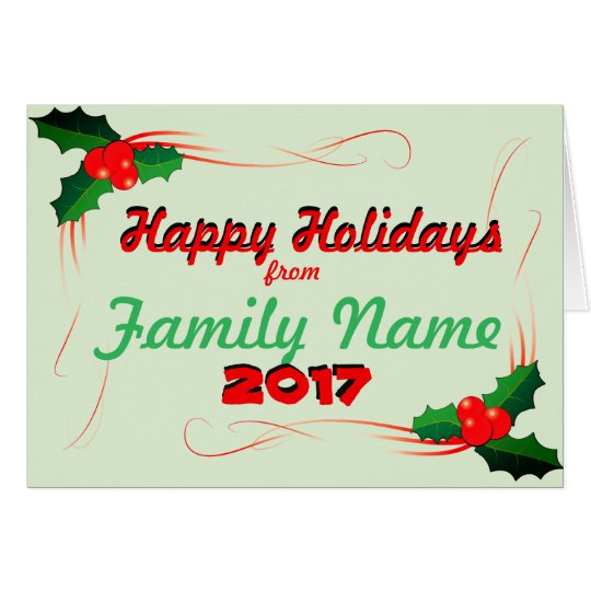 Personalise Happy Holiday 2017 Card