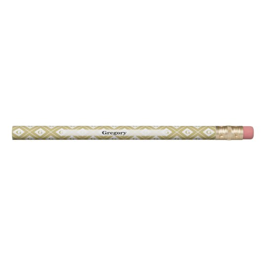 Personalise:  Initial Gold/White Geometric Blocks Pencil