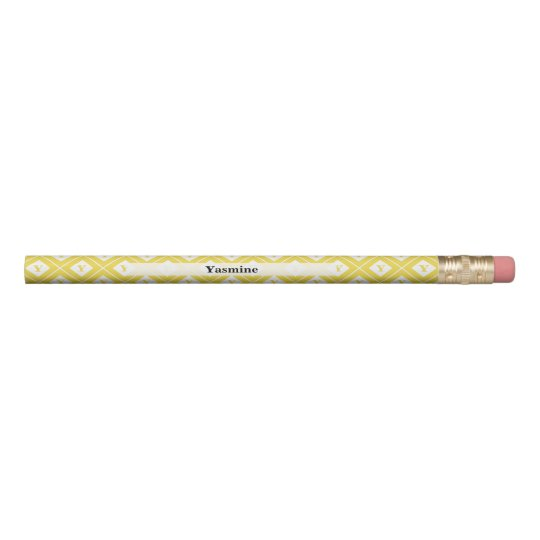 Personalise: Initial Yellow/White Geometric Blocks Pencil