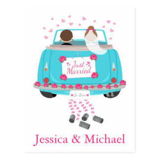 Personalise Just Married Blue Wedding Announcement Postcard