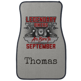 Personalise Legendary Bikers Are Born In September Floor Mat
