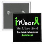 Personalise Lime Green Non-Hodgkin's Lymphoma Pinback Button