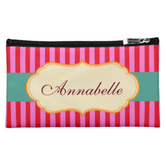 Personalise Monogram Teal Candy Stripes Pattern Makeup Bags