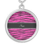 Personalise name neon hot pink glitter zebra strip round pendant necklace