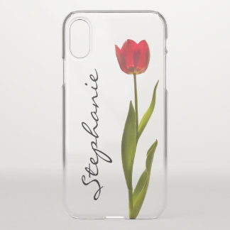 Personalise:  One Red Tulip Floral Photography iPhone X Case