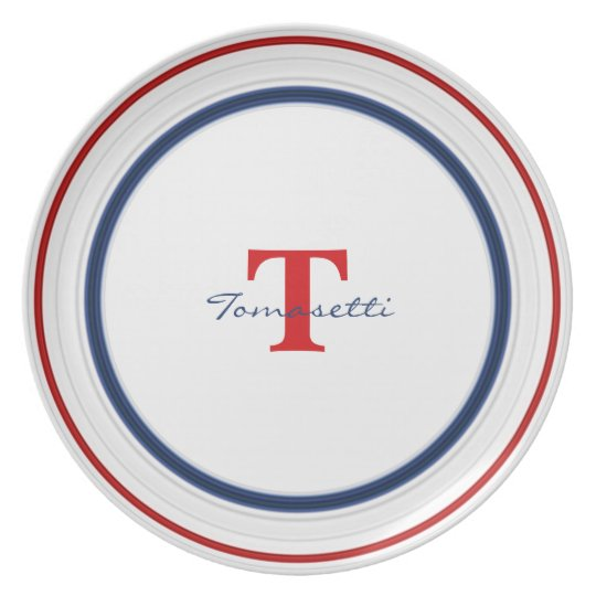 Personalise:  Patriotic Red White and Blue Circles Plate