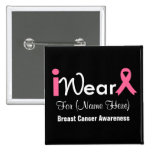 Personalise Pink Ribbon Breast Cancer 15 Cm Square Badge