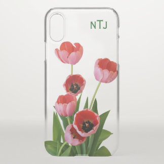 Personalise:  Pink Tulips Floral Photography iPhone X Case
