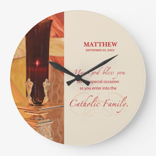 Personalise, RCIA Congratulations, Catholic, Red Large Clock