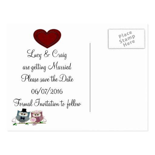 Personalise Save the Date Wedding Postcard
