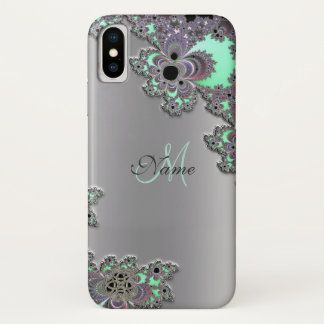 Personalise Silver Metallic Fractal iPhone X Case