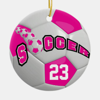 Personalise Soccer Ball | Hot Pink Ceramic Ornament