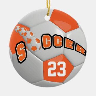 Personalise Soccer Ball | Orange Ceramic Ornament