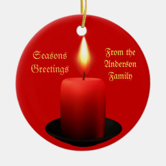Personalise this Christmas Candle Ornament Round Ceramic Ornament