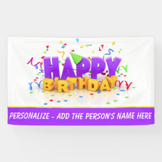 Personalise This Happy Birthday 3' x 5' Banner