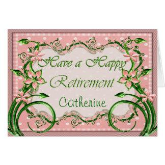 Personalise this Polkadot Pink Retirement Card Greeting Card
