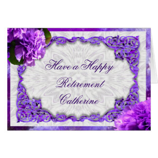 Personalise this Retirement Violet Carnations Card Greeting Card