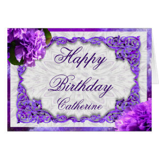 Personalise this Violet Carnations Birthday Card