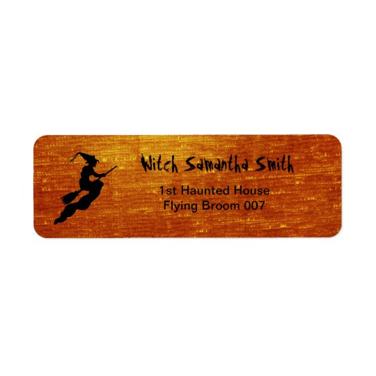 Personalise: Witch in Flight on Broom Silhouette Return Address Label