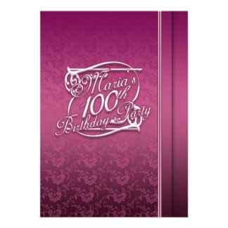 Personalised 100th Birthday Inviations Custom Announcements