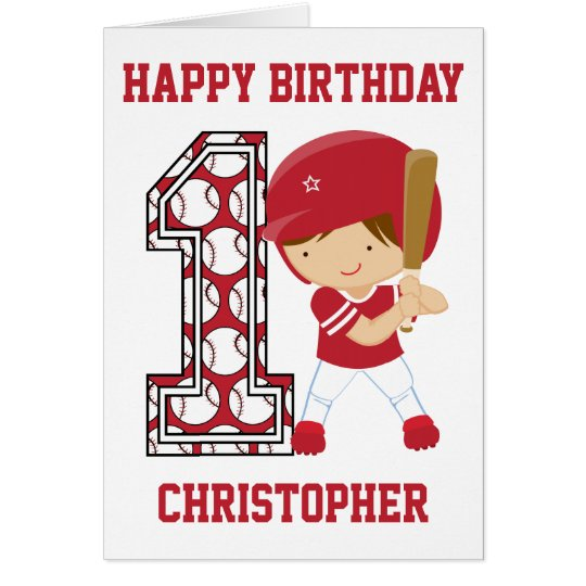 Personalised 1st Birthday Baseball Batter Red Card