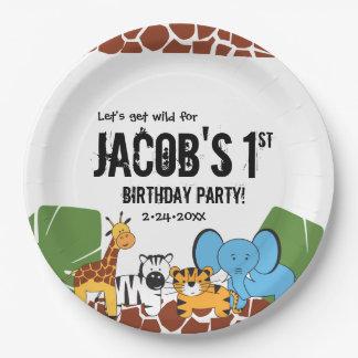Personalised, 1st Birthday, Safari theme Paper Plate