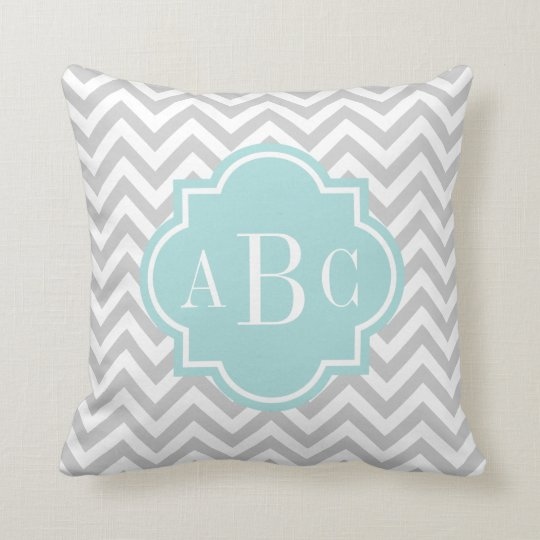 Monogram Letter Throw Pillow : Personalised 3 letter monogram throw pillow grey Zazzle.com.au
