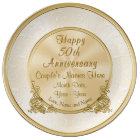 Personalised 50th Anniversary Gift, 3 Text Boxes Plate