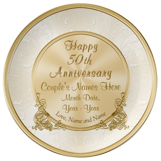 Personalised 50th Wedding Anniversary Gifts: Personalised 50th Anniversary Gift, 3 Text Boxes Plate