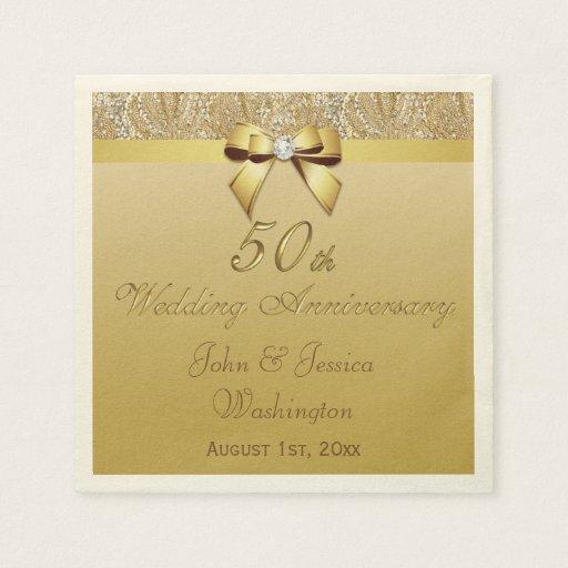 Monogram Paper Napkins Uk: Personalised 50th Gold Wedding Anniversary Paper