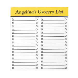 """Personalised 5.5"""" x 6"""" Yellow Grocery List Notepad"""