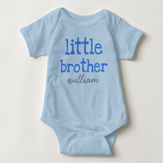 Personalised Add a Name Blue Text Little Brother Baby Bodysuit