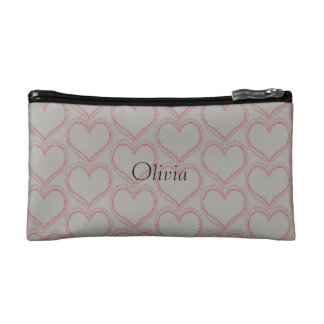 Personalised Add Name Romantic Red Heart Grey Bag