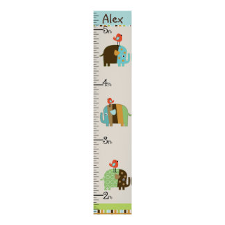 Personalised African Elephants Growth Chart Poster