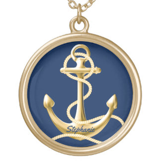 Personalised anchor necklace navy blue gold