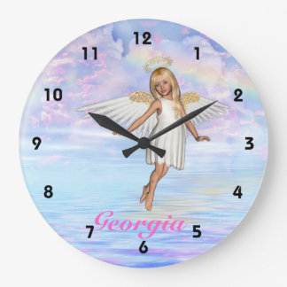 Personalised Angel Sky Wall Clock - Numbered