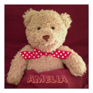 Personalised (Any Name) Teddy Bear Poster