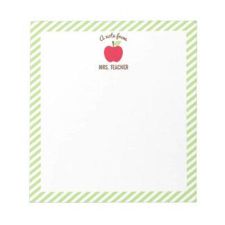 Personalised Apple Teacher Notepad, Green Notepad
