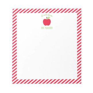 Personalised Apple Teacher Notepad, Red Notepad