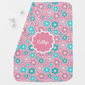 Personalised aqua and pink baby girl baby blanket