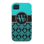 Personalised Aqua Blue Black Vintage Damask Vibe iPhone 4 Cover