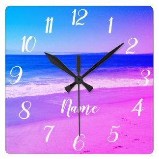 Personalised Aqua Pink Ombre Beach Scene Square Wall Clock