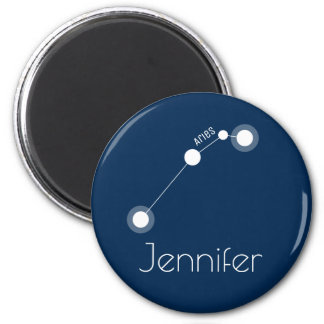 Personalised Aries Zodiac Constellation 6 Cm Round Magnet