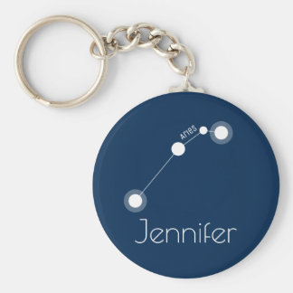Personalised Aries Zodiac Constellation Basic Round Button Key Ring