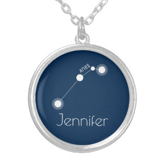 Personalised Aries Zodiac Constellation Silver Plated Necklace